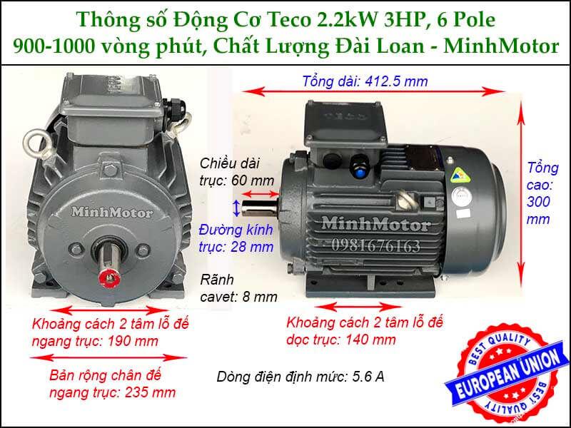 Thông số kích thước cataloge motor Teco 2.2kw 3HP 6 cực điện