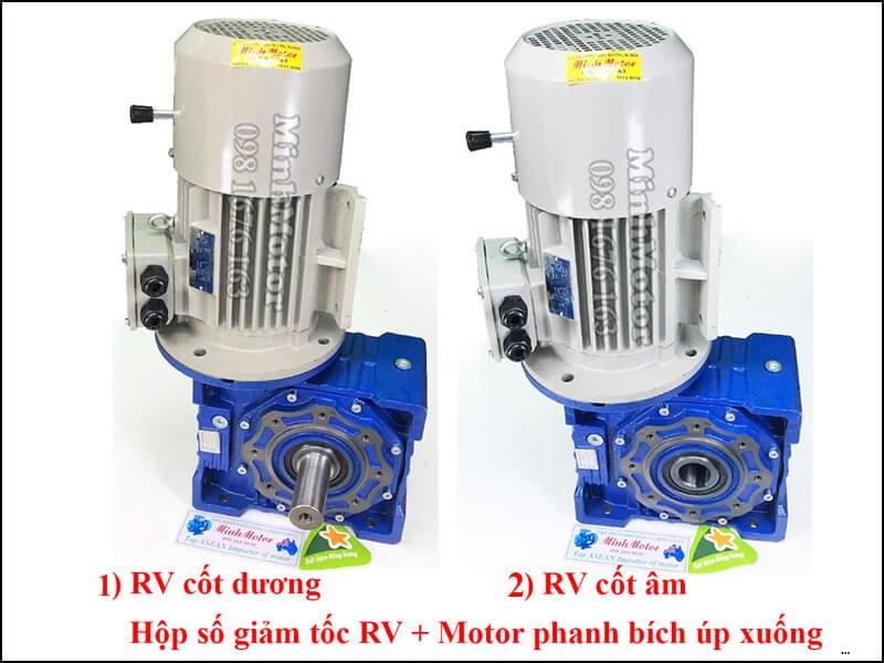 Động cơ phanh 0.75kw 1HP 1 ngựa bích Úp B35 V1 liền giảm tốc NMRV