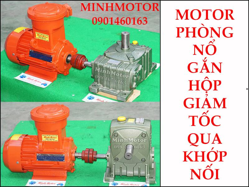 Motor phòng nổ 0.75kw 1HP gắn hộp giảm tốc qua khớp nối