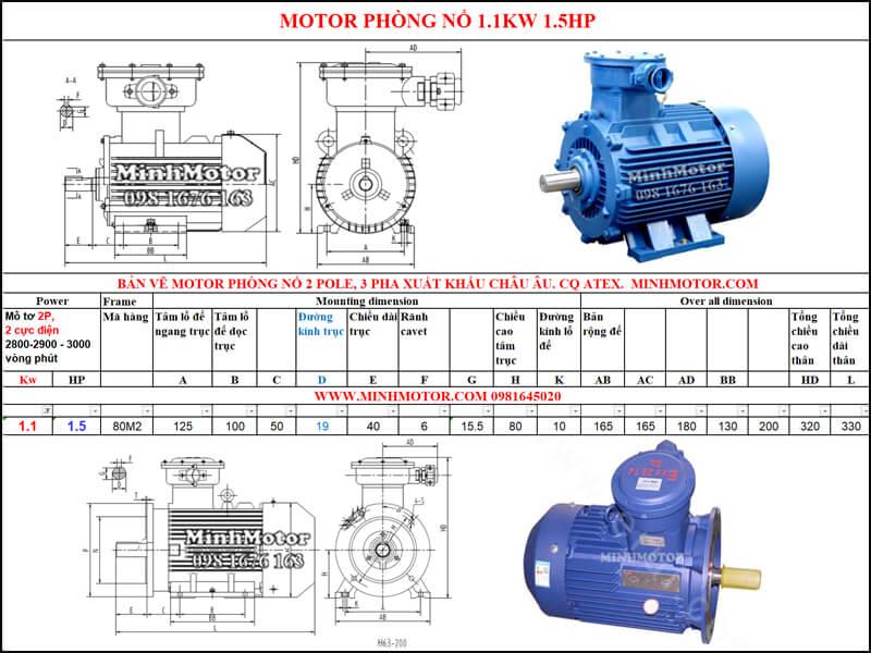 Thông số Động Cơ Điện Phòng Nổ 1.1kw 2 cực 2 Pole 2900 vòng/phút