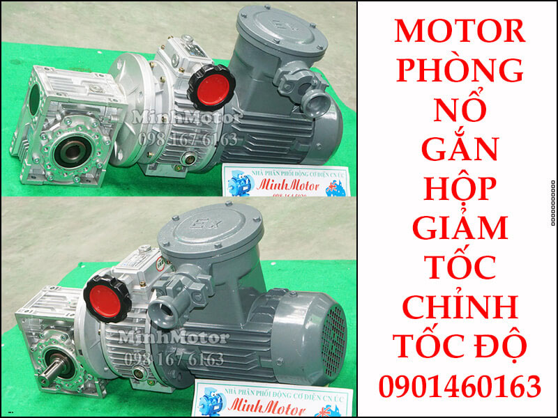 Motor phòng nổ 110kw 150HP gắn với hộp điều chỉnh tốc độ