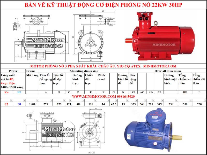 Bản vẽ motor phòng nổ chân đế 22kw 30HP 4 pole 1400-1500 vòng/phút