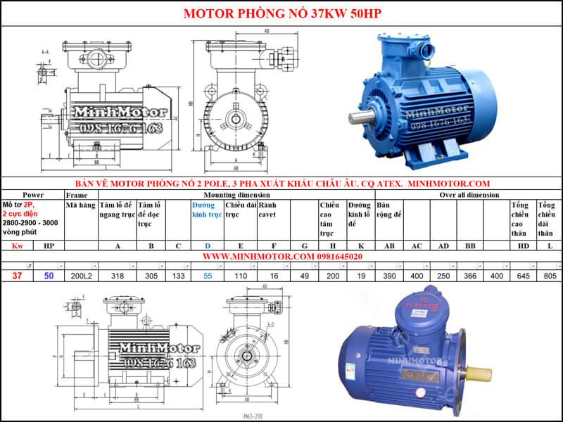 Thông số Động Cơ Điện Phòng Nổ 37kw 2 cực 2 Pole 2900 vòng/phút