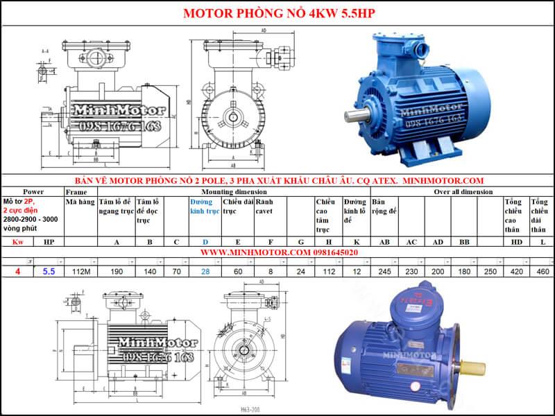 Thông số Động Cơ Điện Phòng Nổ 4kw 2 cực 2 Pole 2900 vòng/phút