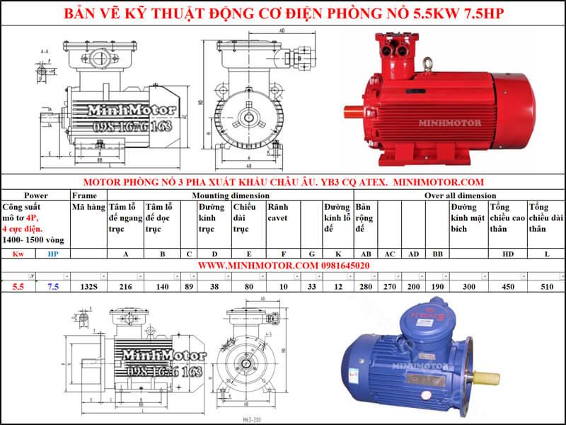 Bản vẽ motor phòng nổ chân đế 5.5kw 7.5HP 4 pole 1400-1500 vòng/phút