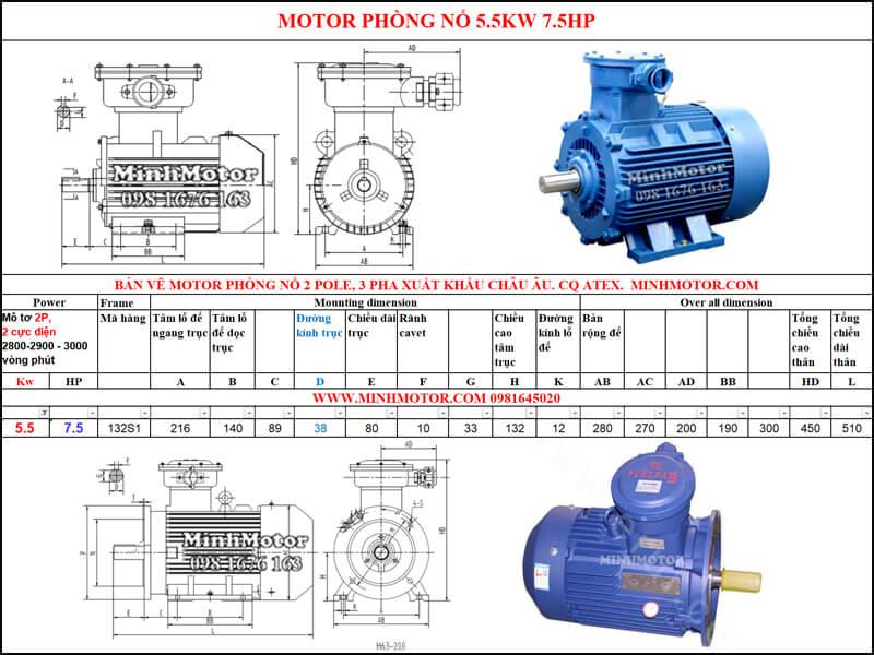 Thông số Động Cơ Điện Phòng Nổ 5.5kw 2 cực 2 Pole 2900 vòng/phút