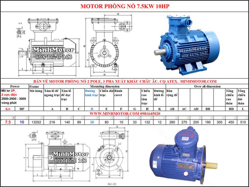 Thông số Động Cơ Điện Phòng Nổ 7.5kw 2 cực 2 Pole 2900 vòng/phút