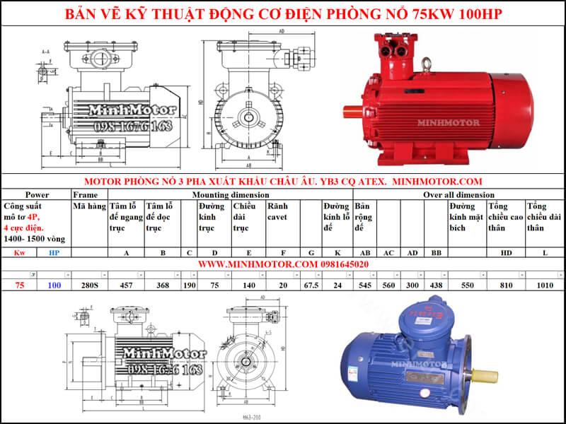 Bản vẽ motor phòng nổ chân đế 75kw 100HP 4 pole 1400-1500 vòng/phút