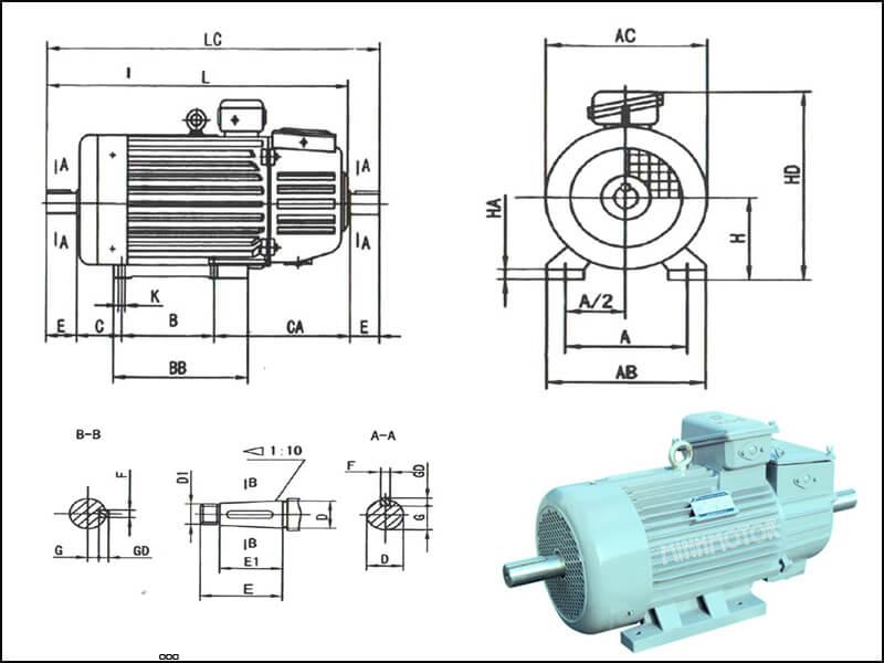 Động cơ ruột quấn 11 kw 15 HP có 2 đầu trục cốt ra