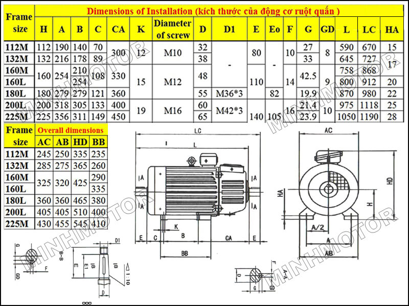 Motor ruột quấn 15 kw 20 HP 6 cực điện 960 vòng phút