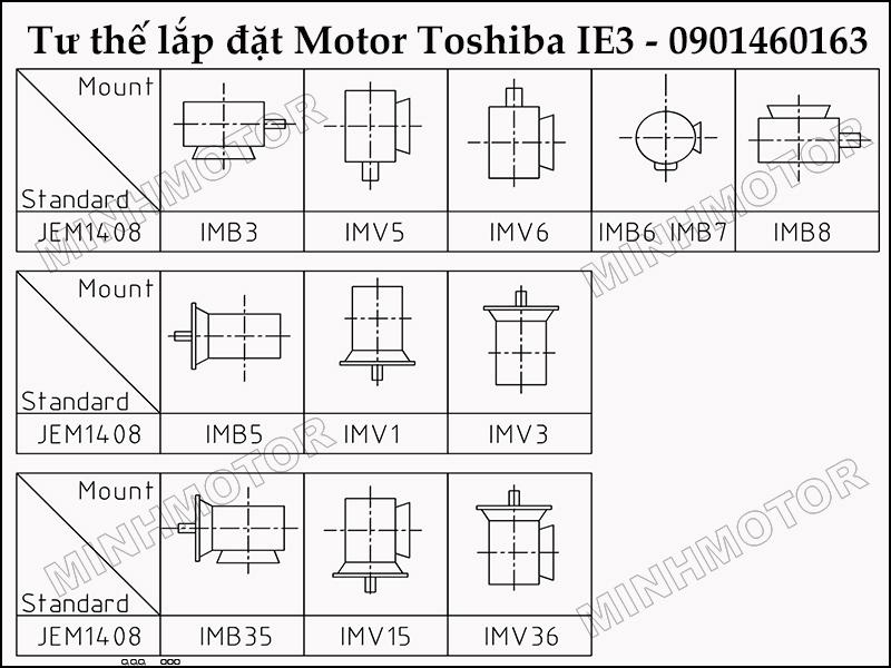 Tư thế Lắp đặt và sử dụng động cơ toshiba 1.5HP 1.1kw 1.5 ngựa IE3