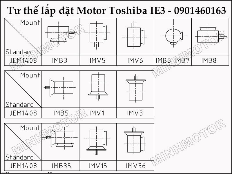 Tư thế Lắp đặt và sử dụng động cơ toshiba 1HP 0.75kw 1 ngựa IE3