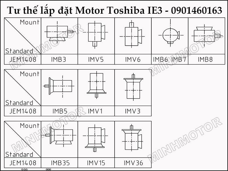 Tư thế Lắp đặt và sử dụng động cơ toshiba 2HP 1.5kw 2 ngựa IE3