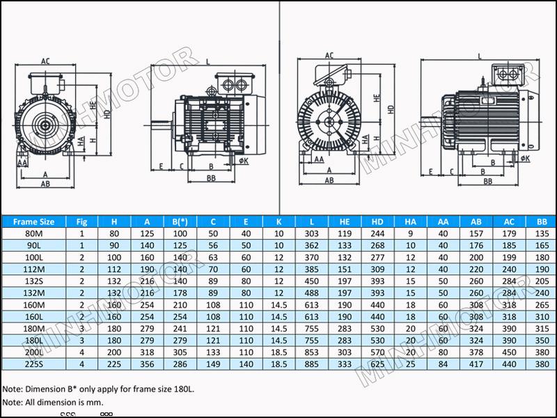Bản vẽ kỹ thuật cataloge motor toshiba 3kw 4HP 4 ngựa 1400 vòng phút chân đế