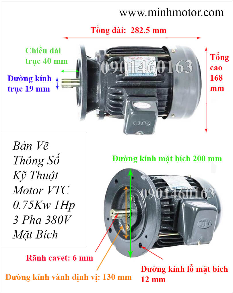 Thông số kỹ thuật Motor VTC 1HP 0.75kw