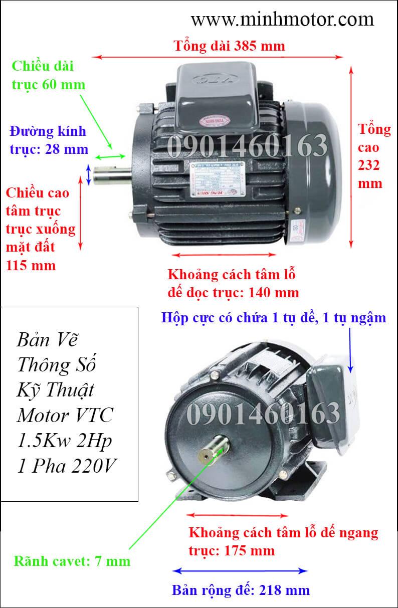 Bản vẽ Motor VTC 2HP 1 pha