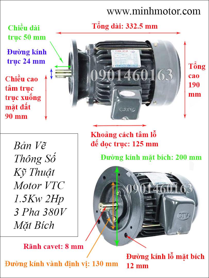 Thông số kỹ thuật Motor VTC 2HP 3 pha