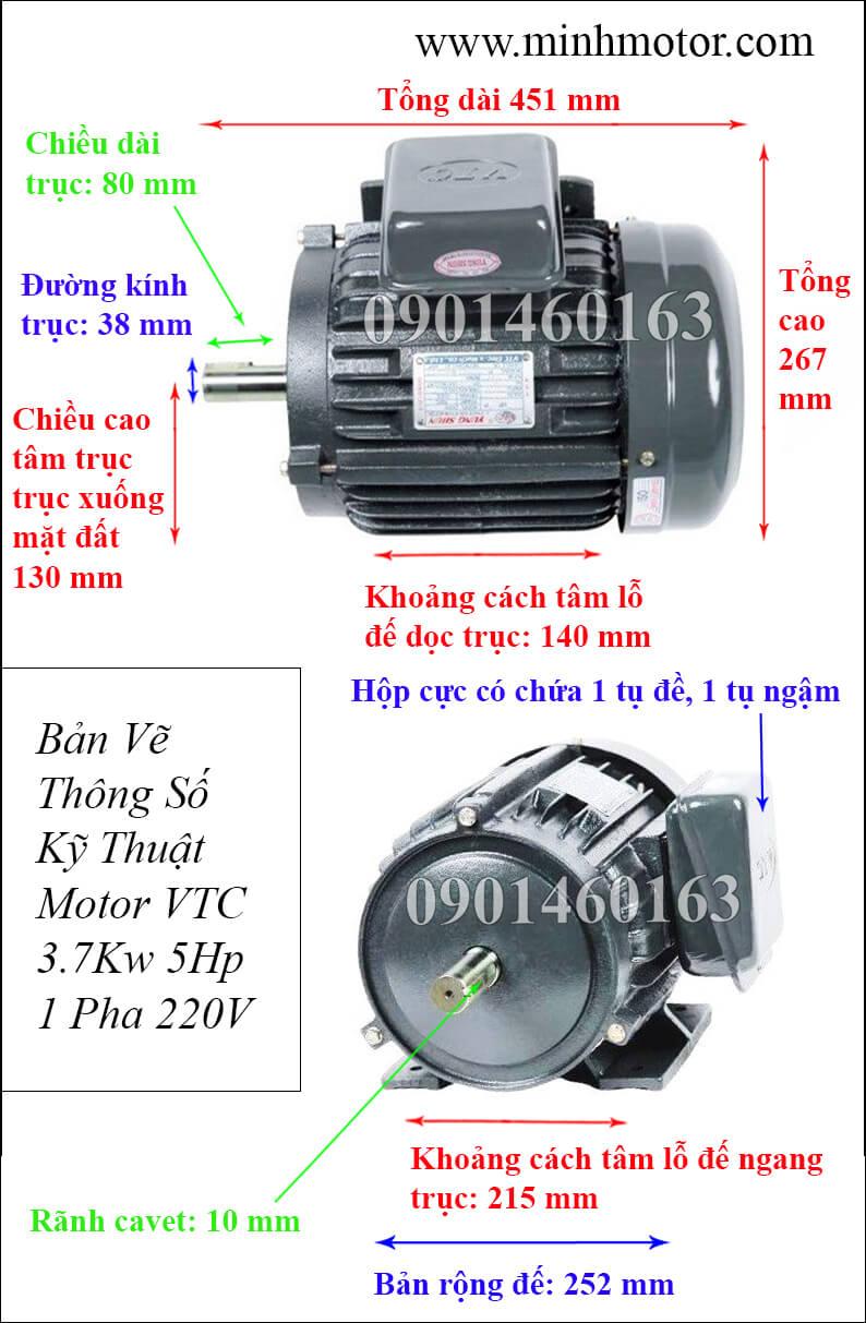 Bản vẽ Motor VTC 5HP chân đế