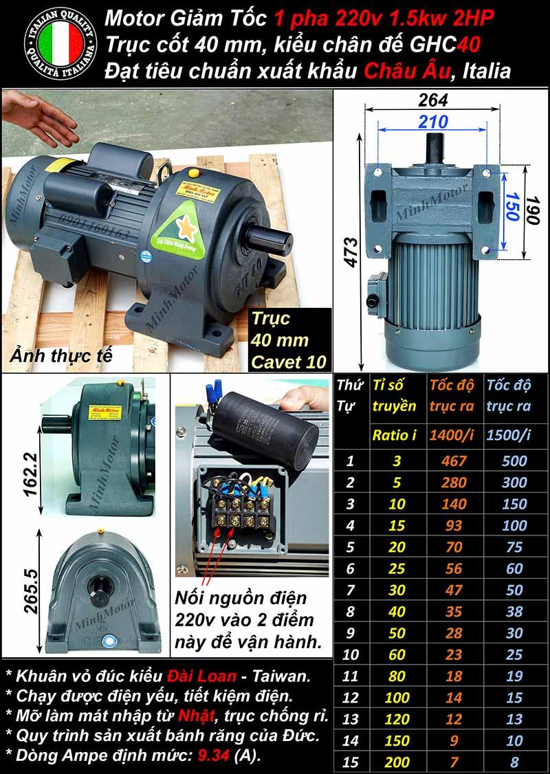 Kích thước motor giảm tốc 1 pha 1.5kw 220V chân đế, trục 40mm