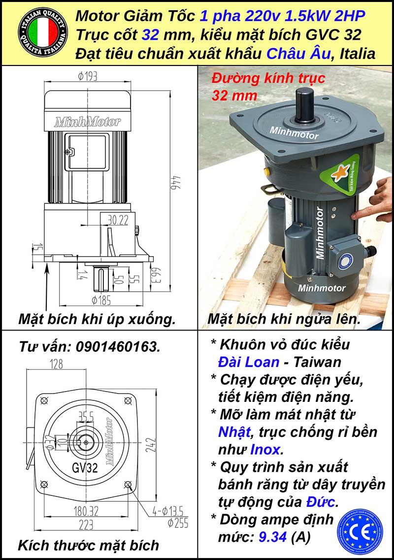 Kích thước motor giảm tốc 1 pha 1.5kw 220V mặt bích, trục 32mm