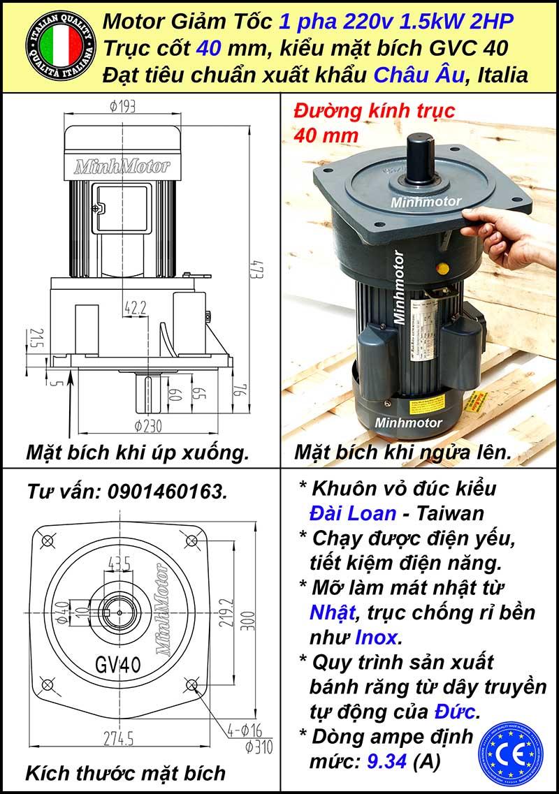 Thông số motor giảm tốc 1 pha 1.5kw 220V mặt bích, trục 40mm
