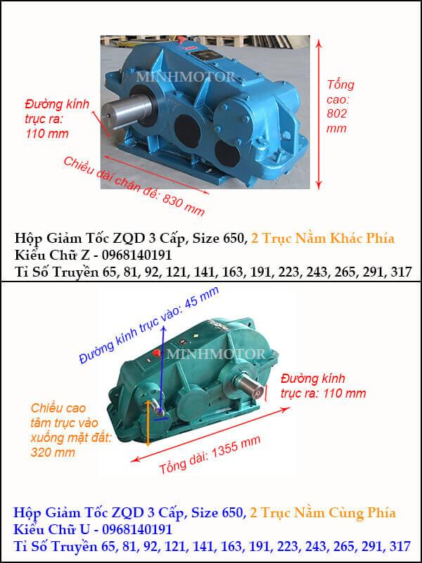 Hộp giảm tốc 3 cấp cầu trục ZQD 650
