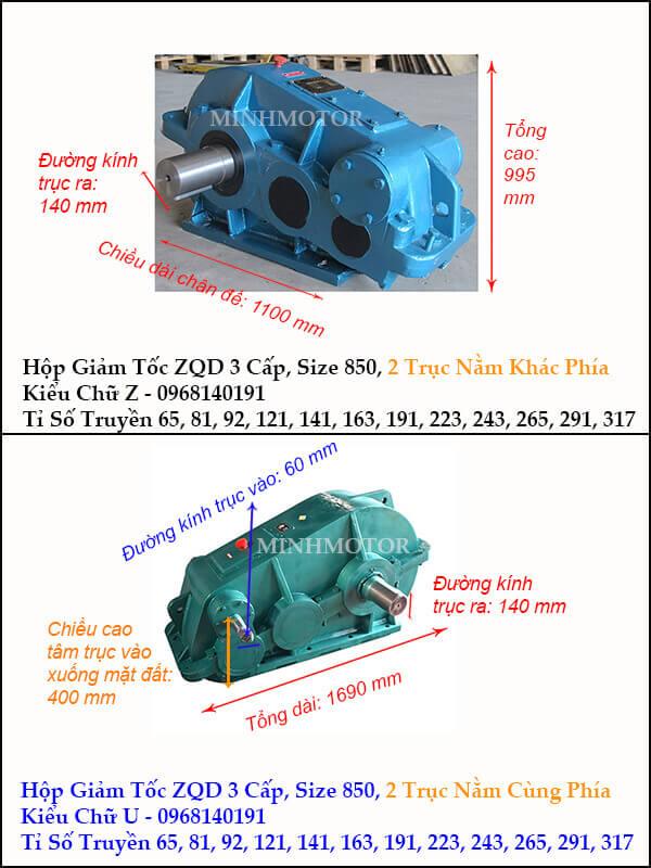 Hộp giảm tốc 3 cấp cầu trục ZQD 850