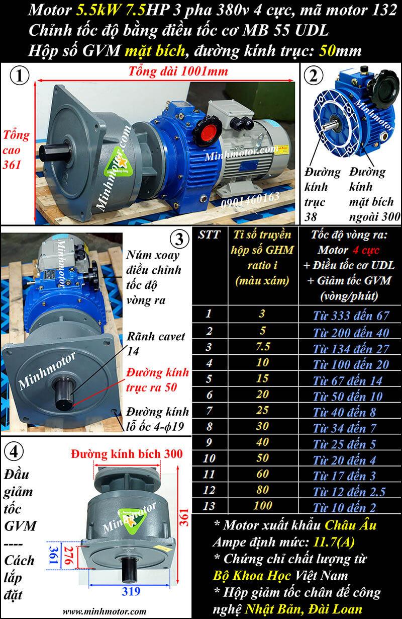 Động cơ giảm tốc mặt bích 5.5Kw 7.5Hp điều chỉnh tốc độ GVM