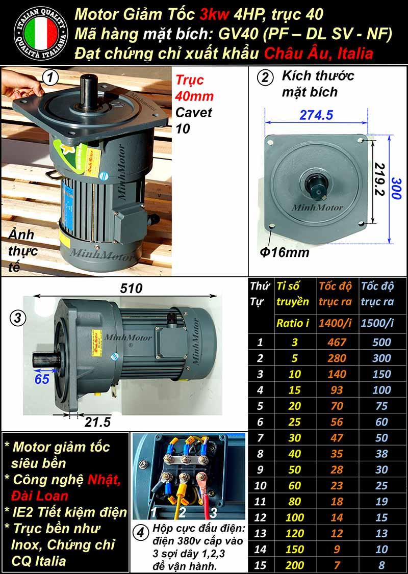 Motor giảm tốc mặt bích 3Kw 4Hp 3 pha GV, trục 40