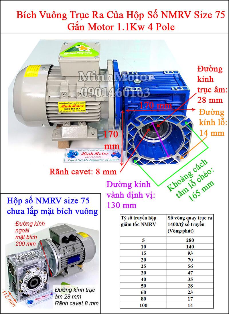 Động cơ giảm tốc mặt bích 1.1Kw 1.5Hp NMRV