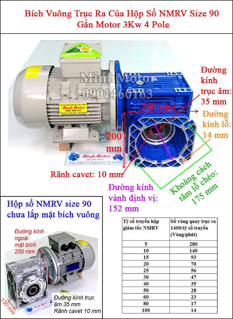 Động cơ giảm tốc mặt bích 3Kw 4Hp NMRV