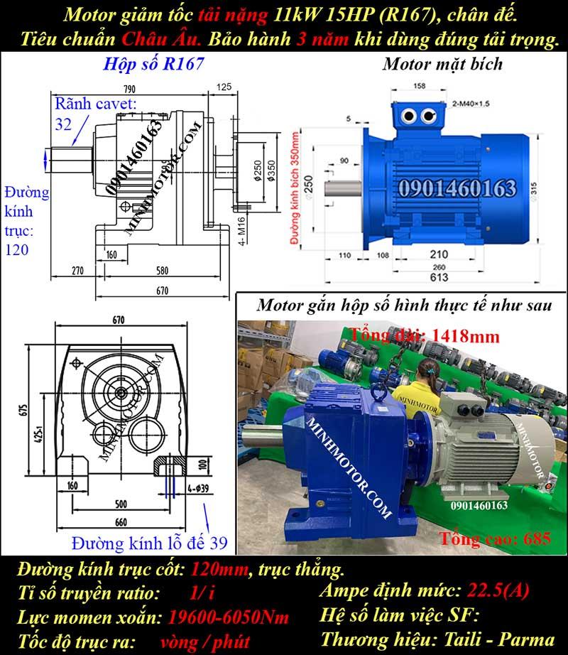 Motor giảm tốc 11Kw 15Hp tỉ số truyền 20 R167