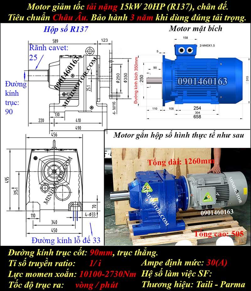 Động cơ hộp số giảm tốc 15Kw 20Hp R137