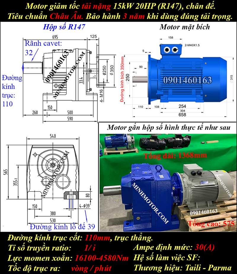 Motor giảm tốc 15Kw 20Hp R147