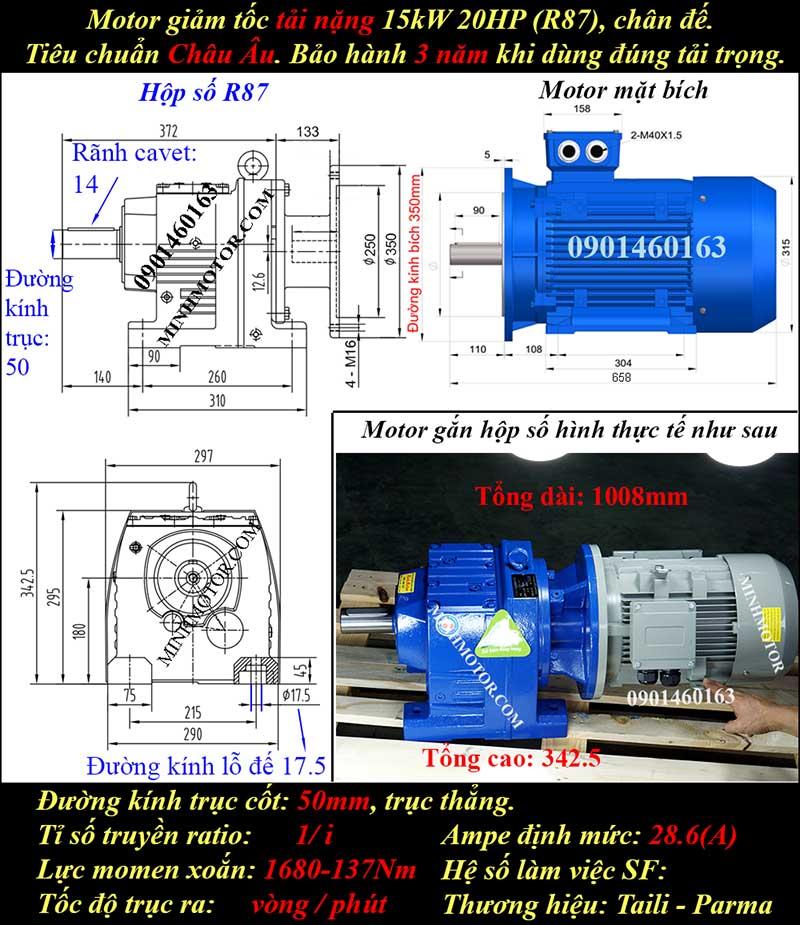 Motor giảm tốc 15Kw 20Hp R87
