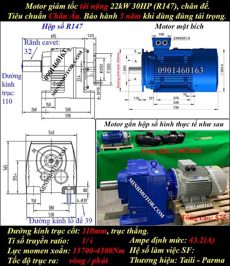 Motor giảm tốc 22Kw 30Hp R147