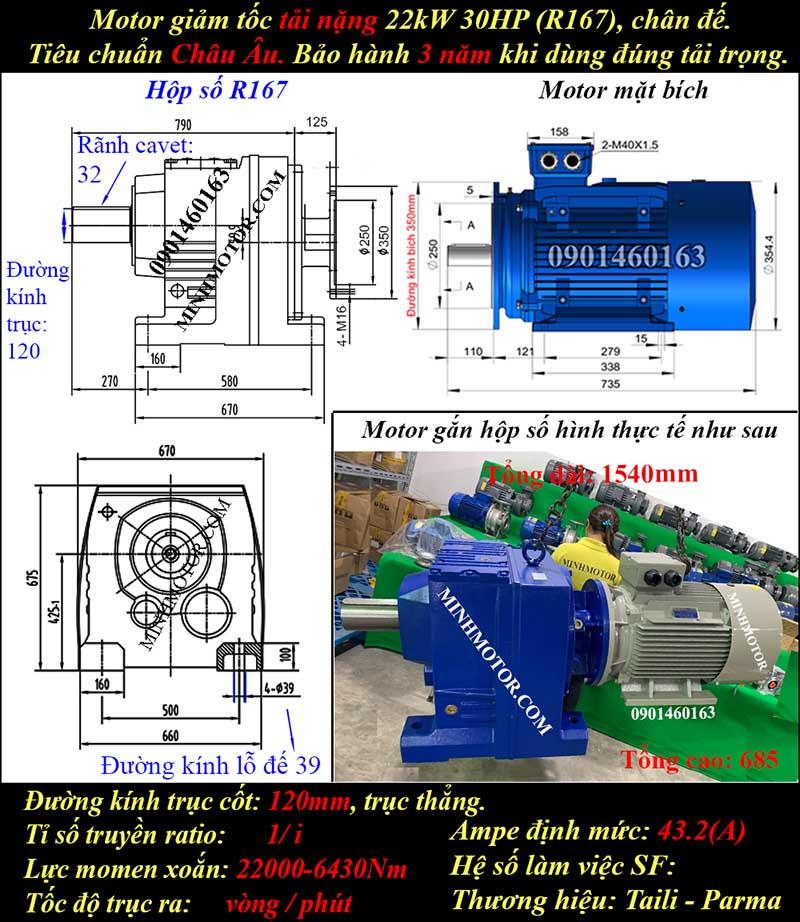 Motor giảm tốc 22Kw 30Hp R167