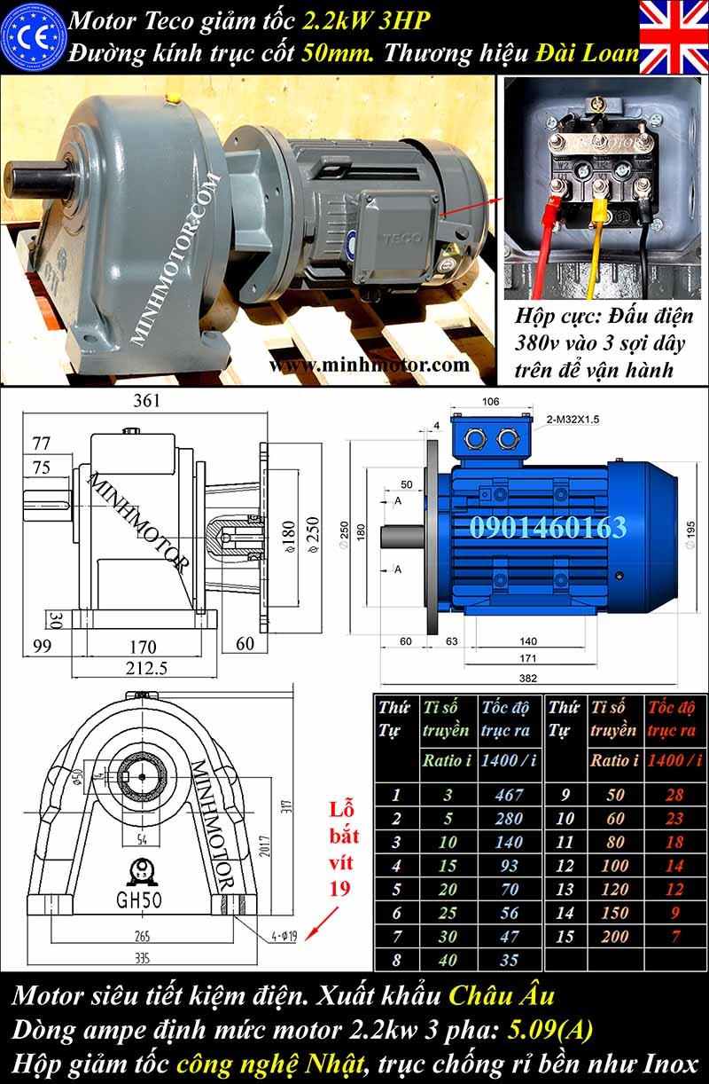 Tư liệu kỹ thuật motor giảm tốc Teco 2.2kW 3Hp chân đế, trục 50