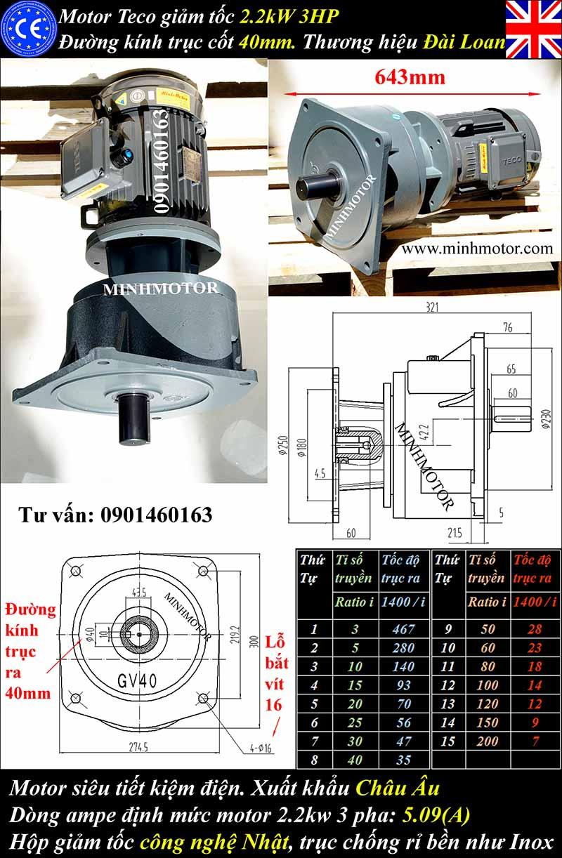 Motor giảm tốc Teco 4kW 5Hp mặt bích GVM
