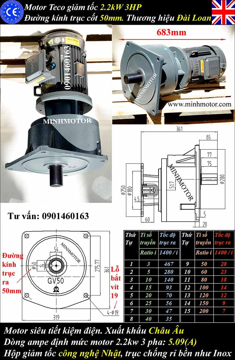 Kích thước bản vẽ động cơ giảm tốc Teco 2.2kW 3HP mặt bích GVM, trục 50