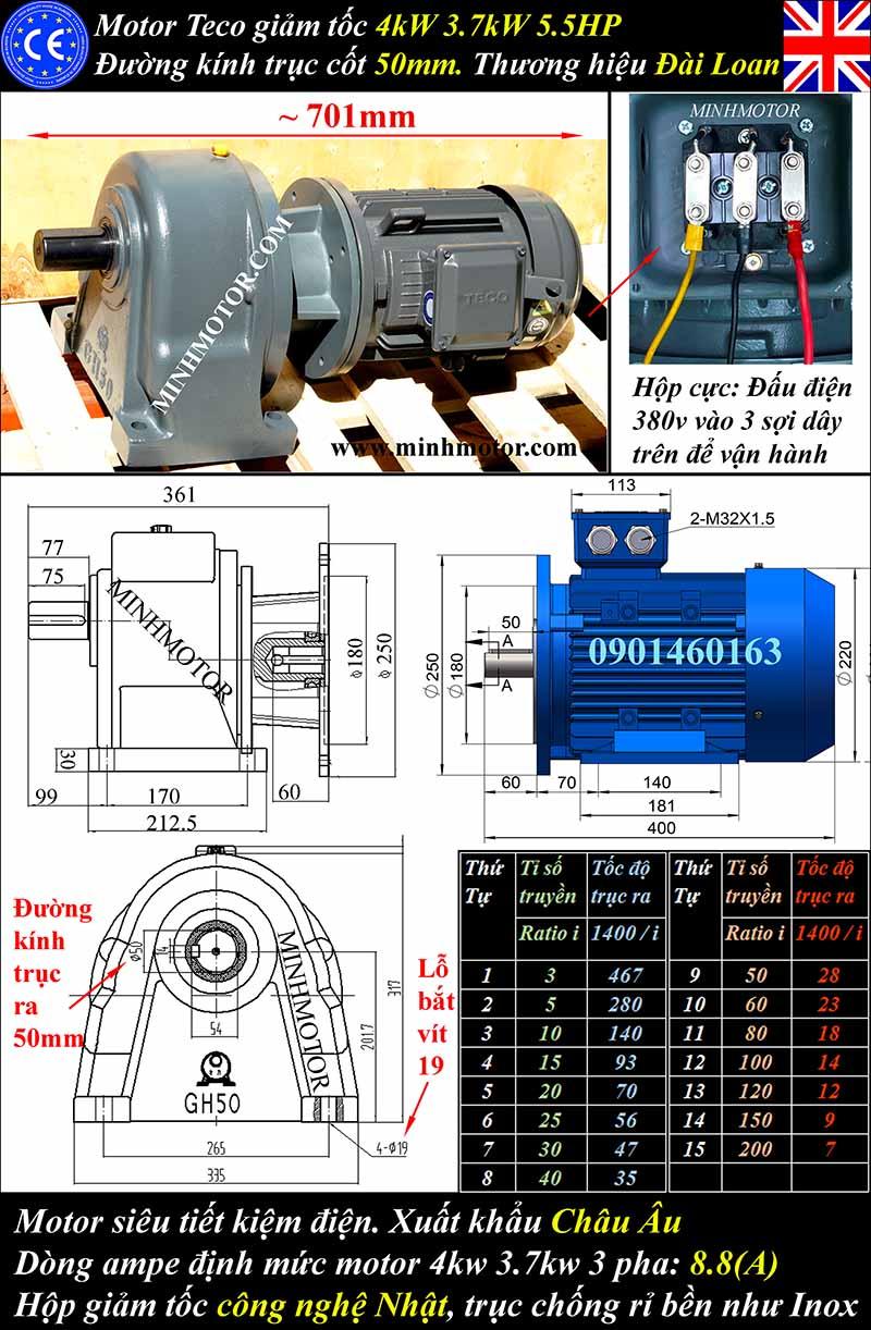 Thông số motor giảm tốc Teco 4kW 5Hp chân đế, trục cốt 50