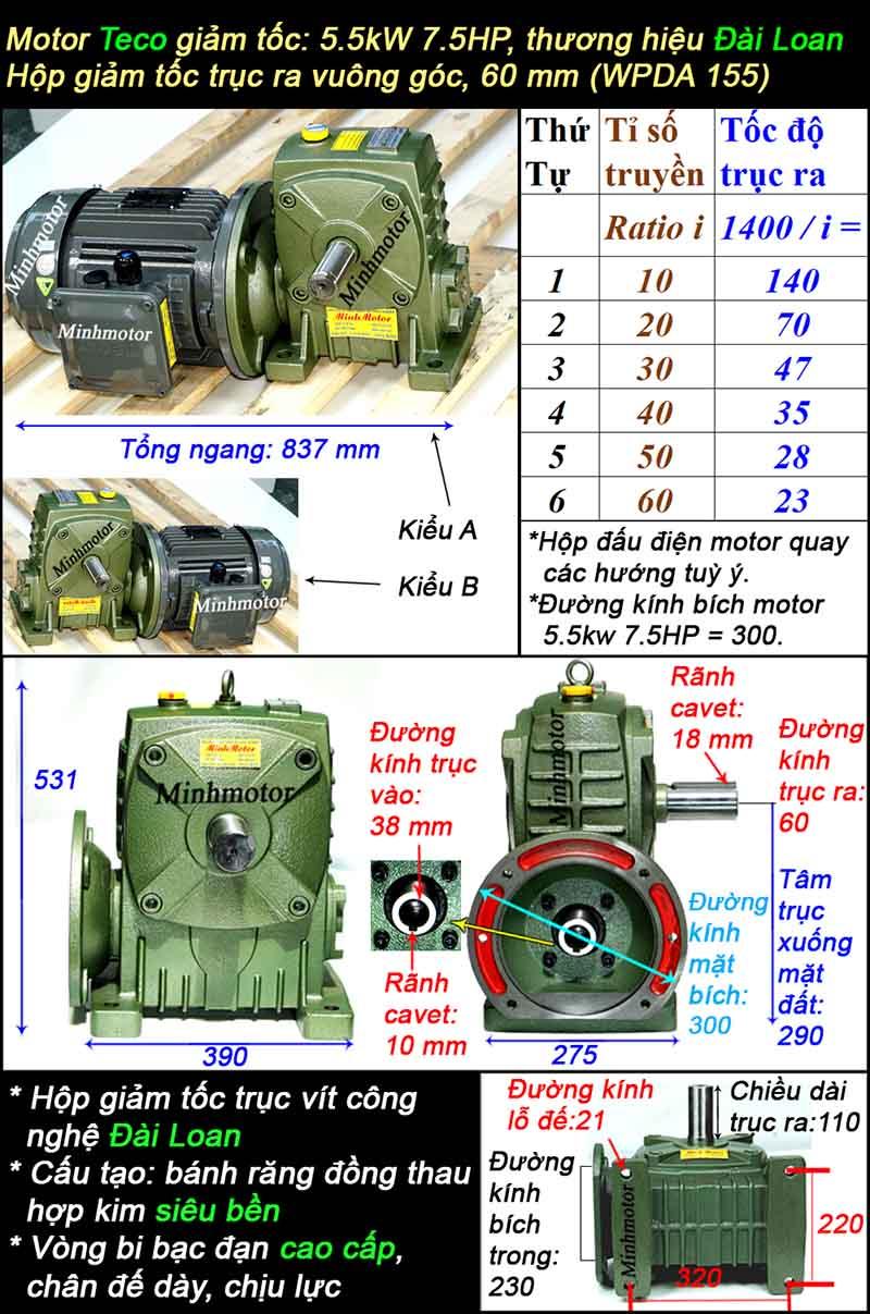 Motor hộp số Teco 5.5kw 7.5hp WPDA trục dương