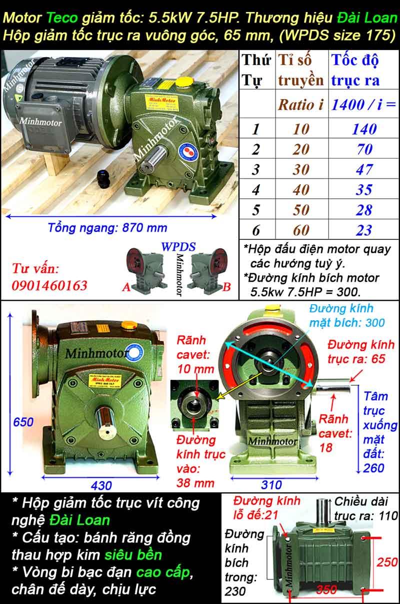 Động cơ hộp số Teco 5.5kw 7.5hp WPDS, cốt dương có đường kính trục 65 mm