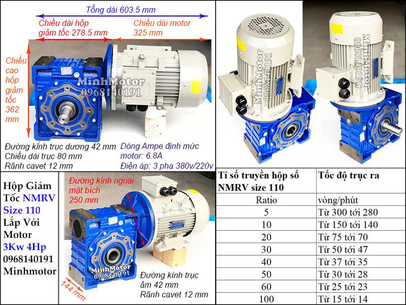 Bản vẽ công suất motor 3kw 4hp lắp với hộp số giảm tốc NMRV size 110