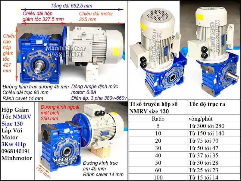 Bản vẽ công suất motor 3kw 4hp lắp với hộp số size 130 NMRV