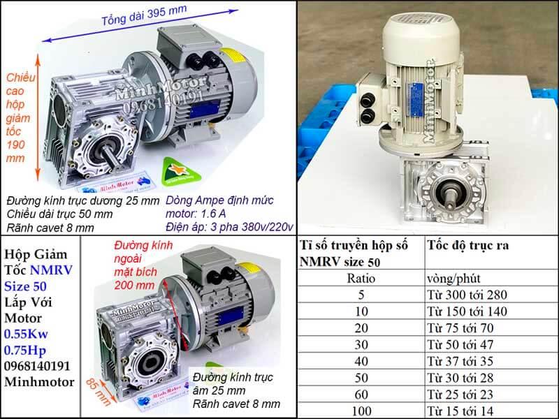 Bản vẽ công suất motor 0.55kw 0.75hp lắp với hộp số size 50 NMRV