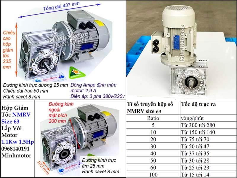 Thông số công suất motor 1.1kw 1.5hp gắn hộp số giảm tốc NMRV size 63