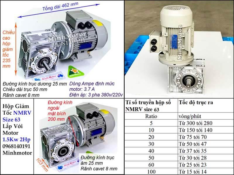 Thông số công suất motor 1.5kw 2hp gắn hộp số giảm tốc NMRV size 63