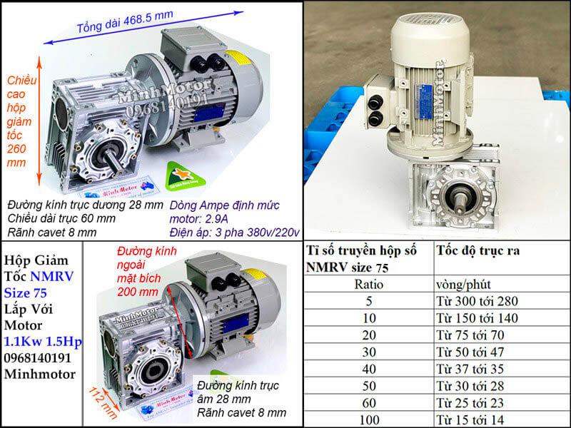 Bản vẽ động cơ giảm tốc NMRV size 75 gắn motor 1.1kw 1.5hp