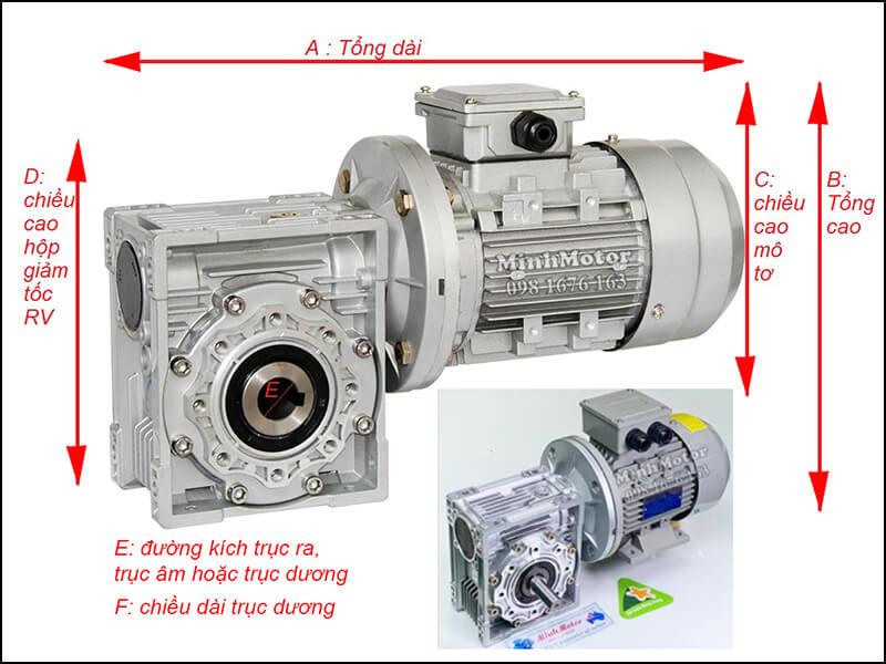 Thông số kỹ thuật khi gắn motor 0.75kw 0.8kw 2HP mặt bích B5 + hộp số NMRV 63